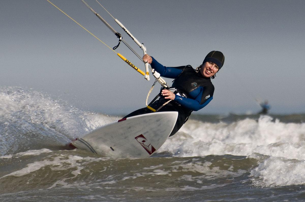 Jane Mackenzie Kitesurfing at Camber Sands