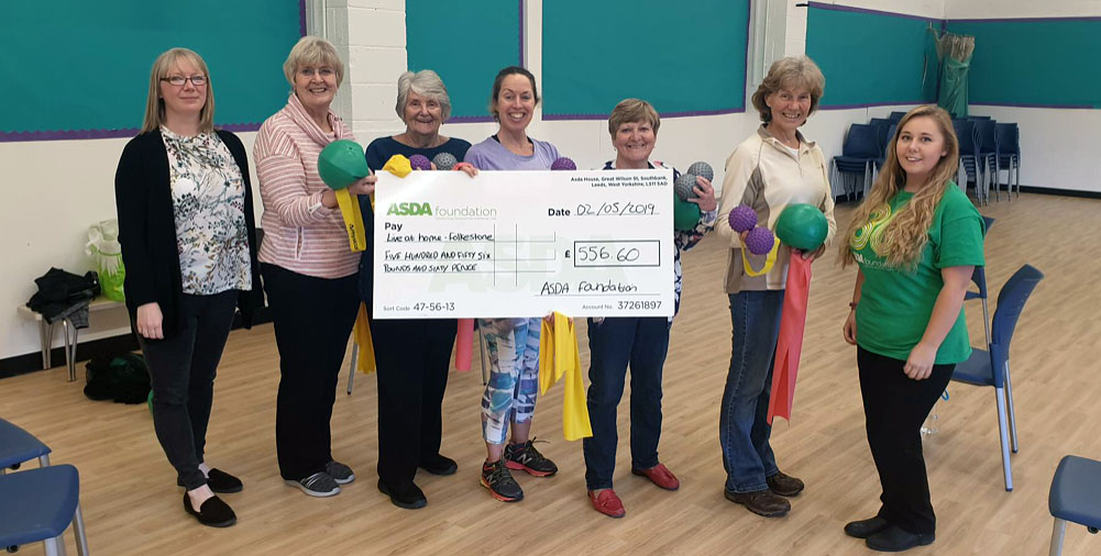 Folkestone Seated Exercise Classes receives cheque from ASDA